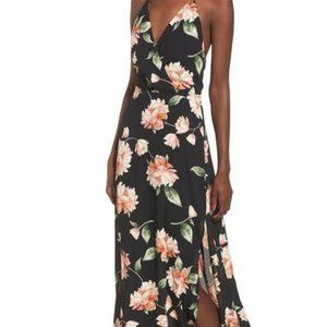 Lush Floral Maxi Dress with Slit